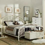 Metal Bed Frame King Size Victorian Arched Style Antique White Bedroom Furniture