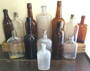 Old Vtg Antique Whiskey Wine Beer Brown Clear Glass Leroux Duffy 13 Bottle Lot