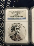 5pc 2011 25th Anniversary Silver Eagle Set Ngc Ms 70 Top Pop 100