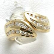 Vintage 14k Yellow Gold Diamond Ring Band 1 Carat Swirl Wide Thick Channel Set