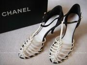 Auth Pearl Cc Ankle Strap Leather Strappy Sandals Sz 37 White/black Used