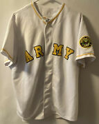 United States Army E9 White And Gold Embroidered Baseball Jersey Xl
