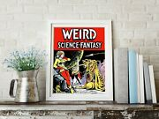 Vintage Science Fiction Poster. Weird Science Fantasy Vintage Scifi Outer Space