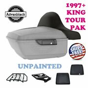 Unpainted King Tour Pack Pad Trunk Black Hinges And Latch For 1997-2020 Harley