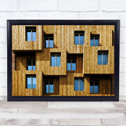 Little Boxes Facade Architecture Wooden Windows Box Planks Wall Art Print