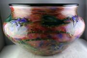 Large Charles Lotton Studio Art Glass Multi Flora Urn Vase Signed And Dated