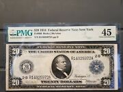 1914 20 Federal Reserve Note Ny- Low Pop Only 52 Recorded- High Grade
