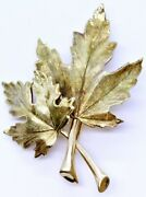 14k Solid Yellow Gold Brushed Satin Finish Double Maple Leaf Leaves Pin Brooch