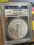 2014-w Burnished Silver Eagle Pcgs Ms70 West Point Mint Label