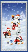 Snow What Fun Quilt Fabric Panel Winter Christmas 24 X 43 Inches