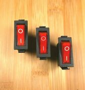 3 Bbt 12 Volt Lighted Red On/off Snap-in Rv Rocker Switches