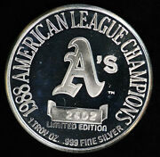 10 Oakland Aand039s Athletics 1988 American League Champs Mlb 1 Oz Silver Round