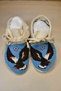 Native American Fully Beaded Moccasins, Hard Soles, Eagle Motif