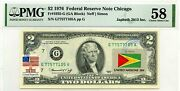 2 Dollars 1976 Stamp Cancel Flag Un From Guyana Lucky Money Value 3000