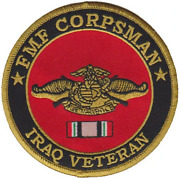 4 Fmf Corpsman Iraq Veteran Flag Insignia Logo Military Round Embroidered Patch