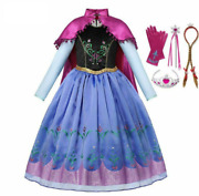 Girls Princess Anna Costume With Cloak Deluxe Snow Queen Elsa Anna Cosplay Dress