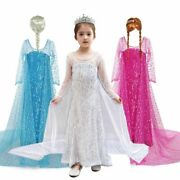 Long Gown Girls Carnival Clothing Princess Anna Cosplay Costume Children Dresses