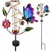 Solar Powerded Butterfly Rain Gauge With Replacement Glass Tube Garden