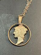 Mercury Dime Cutout Necklace 90 Silver With Sterling Chain Chn