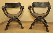 Pair Of 19th Century Hand Carved Italian Renaissance Dante Chairs
