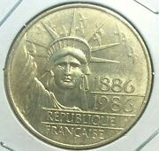 🔥 1986 🔥 France 100 Francs Silver Coin 🔥 Toned / Liberty Statue Km 960