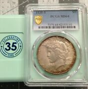 1935-s Peace Dollar Pcgs Ms64 Key Date Low Mintage Gold Shield Vam 5a Coin