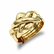 Unisex Solid 9ct Yellow Gold 4 Piece Puzzle Ring