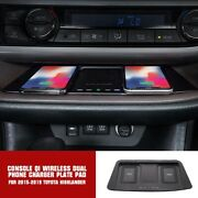 For 2015-19 Toyota Highlander Console Qi Wireless Dual Phone Charger Plate Pad