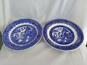 2 9.25 Petrus Regout Co Maastricht Holland Co Blue Willow Dishes Plates