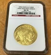 2006 50 American Gold Buffalo 1oz .9999 Fine Gold Ngc Ms70 - First Strikes