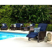Reclining Patio Lounge Chair Stationary Fast Drying Uv-protected Cushion Steel