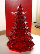 Waterford Crystal Red Christmas Tree Sculpture Figurine - New In Box