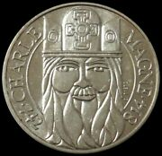 1990 Silver France 100 Francs Coin Charlemagne Charles The Great Coin Unc+