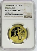 1999 Gold Gibraltar 750 Minted 1/2 Crown Millennium Ngc Proof 70 Ultra Cameo