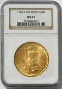 1908 D Nm Gold 20 St Gaudens No Motto Coin Ngc Mint State 62