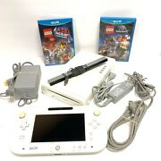 Nintendo Wii U 8gb White Wup-001 Bundle Wii U Pad Cables Sensor And 2 Games Tested