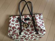 Dooney And Bourke Disney Collection Minnie Mouse Ribbon Pattern Tote Bag White/red