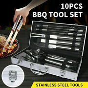 10pcs Bbq Grill Tool Set Stainless Steel Barbecue Grilling Accessories Outdoor