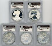 2011 Ase 5-coin Set Ms/pr70/sp70 Pcgs 25th Anniversary J Mercanti Ase Label