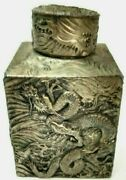 Interesting Vintage Asian Brass Metal Dragon Etched Lidded Storage Container 5