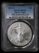 2011 S American Silver Eagle Pcgs Ms 70 | 25th Anniversary Set Burnished
