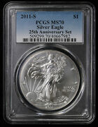 2011 S American Silver Eagle Pcgs Ms 70 | 25th Anniversary Set Burnished Sanfran