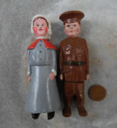 Wooden Figures Canada War Camp Prisoner Of War Carvings Of A Man And Women