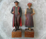 Antique Black Forest Carved Wood Traditional German Man And Women Bollenhut Hat