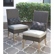 Pason Dining Chair Reversible Weather-resistant Stationary Putty Cushion 2-set