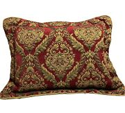 2 Set Croscill Imperial Empress Red And Gold Std Pillow Shams W/gold Corded Trim