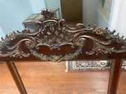 European Rococo Antique Triple Panel Mirror Mid To Late 1800s Hand Carved