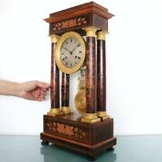 """French Mantel Clock Antique Pillar 20"""" Rosewood Floral Inlay Chime High Gloss"""