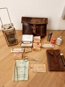 Leather Swiss Army Military Bag Medic First- Aid 1949 With Rare Folding Lantern