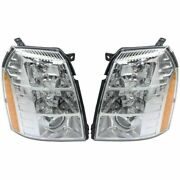 Headlight Set For 2007-2009 Cadillac Escalade Left And Right Hid With Bulb 2pc